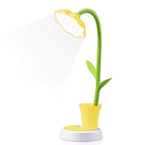Lámpara para niños Vimbo Creative recargable lámpara de escritorio – LED Protección ocular Sensor táctil Lámpara de mesa regulable lámpara de noche con soporte para bolígrafo (amarillo)