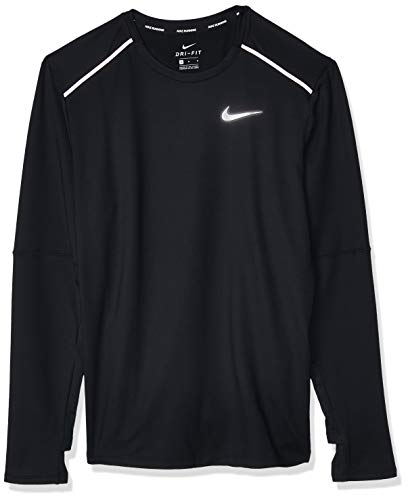 Nike M NK ELMNT Crew 3.0 T-Shirt à Manches Longues Homme, Black/Reflective Silv, FR : M (Taille Fabricant : M)
