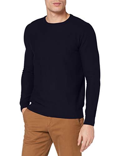 TOM TAILOR Herren Cosy Strick Pullover, 13160-Knitted Navy Melange, M