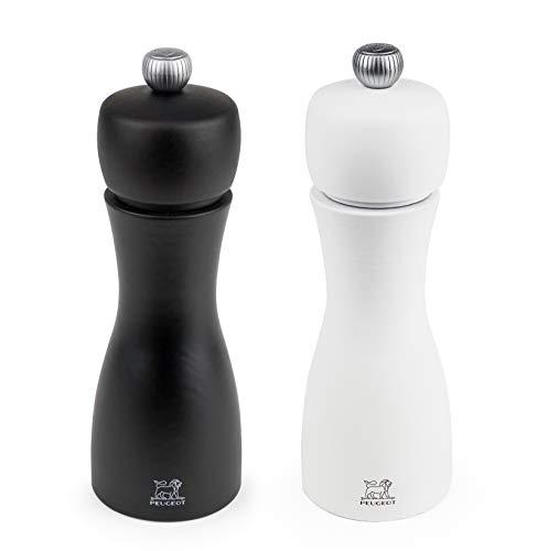 Peugeot TAHITI DUO matt weiß & schwarz-15 cm Pfeffer-und Salzmühlenset, Holz, Weiß/Schwarz