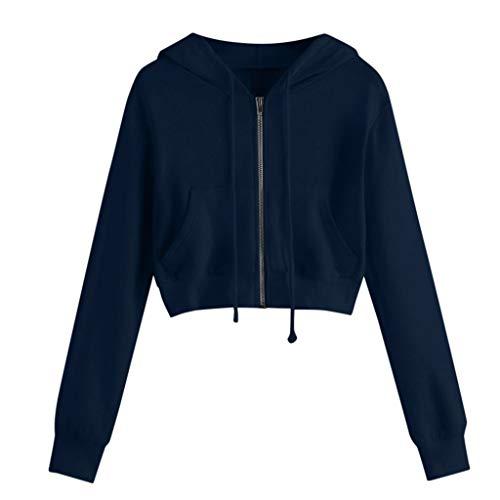 Linkay Damen Kapuzenpullover Strickjacke Frauen-beiläufige Feste Lange Hülsen-Reißverschluss-Taschen-Hemd-mit Kapuze Sweatshirt-Oberseiten(Marine-a,Medium)