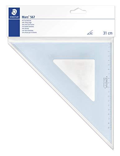 Staedtler Mars 567, Squadra da Disegno di Plastica Blu Trasparente, 45 Gradi di Angolo e 31 Centimetri di Ipotenusa, 567 31-45