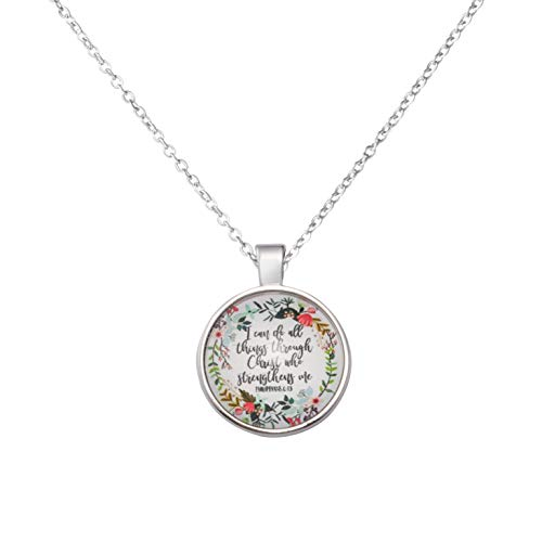 MEMGIFT Inspirational Christian Gift for Women Bible Verse Necklace Scripture Personalized I Can Do All Things Through Christ Who Strengthens Me