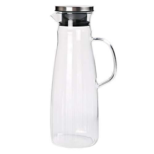 Picther de agua de vidrio de 1400 ml con tapa, tarro de té de jugo, jarra resistente al calor para agua de refrigeración, caja fuerte para nevera