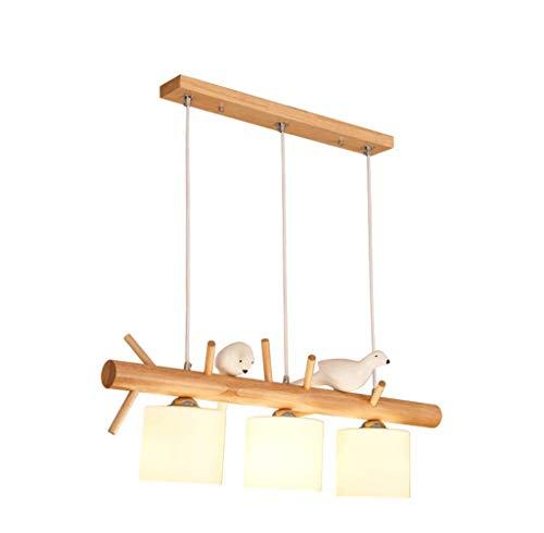 KMMK Candelabros para el hogar, iluminación novedosa, candelabro nórdico personalidad creativa 3 candelabro de restaurante de pájaro pequeño, tres cabezas, madera maciza simple, moderno, estilo japon