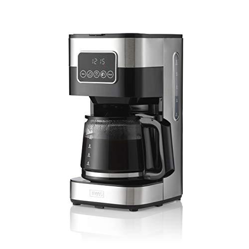 Trebs Filter-Kaffeemaschine 24100 - bis zu 12 Tassen bei 1,5l Kapazität - Programmierbar - Abschaltautomatik - Tropfstopp - LED Touch Display - Edelstahldesign - Edelstahl/schwarz