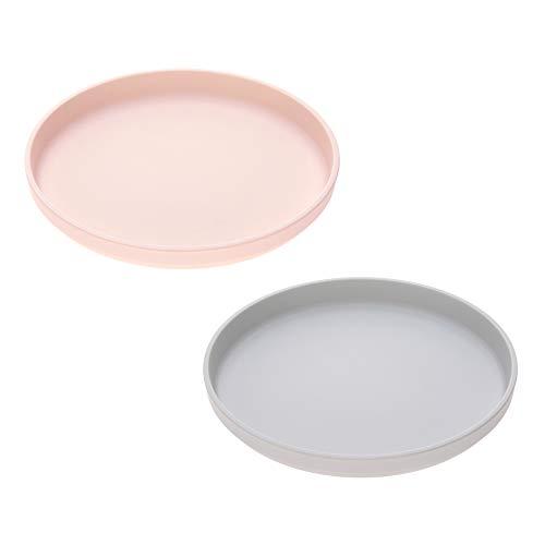 LÄSSIG Kinderteller 2er Set Uni Plate Set grau/rosa