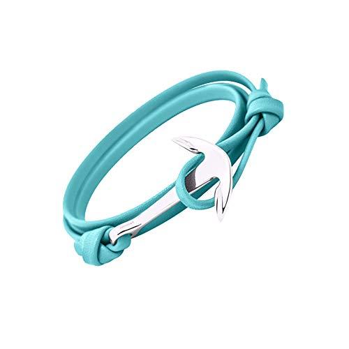 Bande Nautique d ancrage Les Hommes Les Femmes Bracelet Unisexe de Couleurs Mode Tendance GLANZWEAR Enveloppez Bracelet Ancre de Bateau en Argent Rope Silver Edition