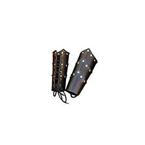 THORINSTRUMENTS (with device) Black Leather Swordsman Vambraces - Arm Guards One Size - Brass