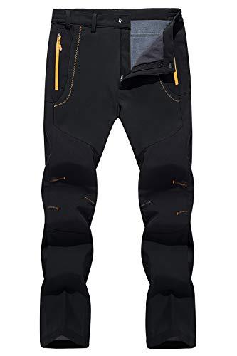 TACVASEN Men's Pants-Outdoor Waterproof Skiing Snowboarding Soft Shell Pants, Black, 34