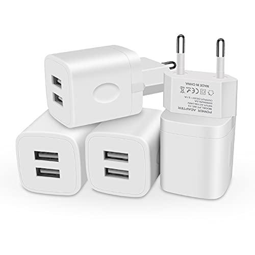 USB-Stecker EU-Netzladegerät, 4er-Pack 2-Port 5V/2.1A USB-Ladegerät Netzteil Schnellladestecker für Samsung Galaxy S21 S20 S10 S9 S8 S7 S6,Huawei P50 P30 P20,Handy 12/Xs/XR/X/8/7/6/ 6S Plus, Pad