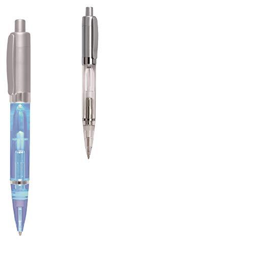 noTrash2003® LED Leuchtkugelschreiber Druckkugelschreiber mit Blauem Licht - schreibt im Dunklen