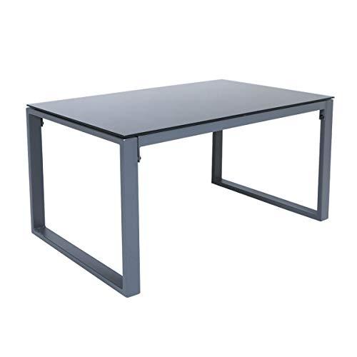 SVITA LOIS XL Poly Rattan Sitzgruppe Gartenmöbel Metall-Garnitur Bistro-Set Tisch Sessel grau - 4