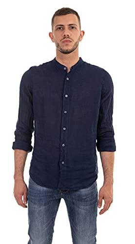 TONY BACKER Chemise homme en pur lin avec col coréen et coupe légère, manches longues, bleu, Large