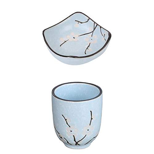 MagiDeal 2 Piezas Sushi Wasabi Taza de Té Y Café 150 Ml / 5 Oz Set Azul Apto para Lavavajillas