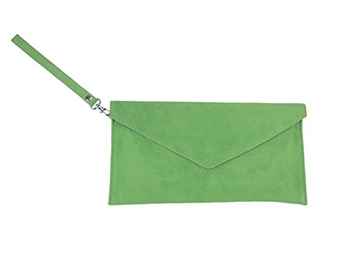 scarlet bag | Umhängetasche aus Wildleder Leder | Damen Handtasche Tasche Henkeltasche; 31,5 x 16,5 x 1,0 cm (grün)