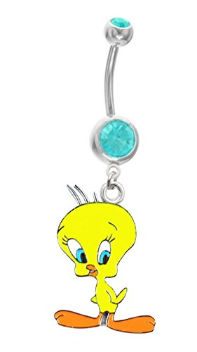 Cute Yellow Tweety Bird Loony Tunes Cartoon dangle Belly button navel Ring banana piercing bar body jewelry 14g