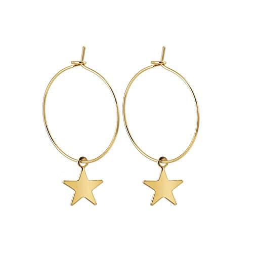 Doorboorde ster hoepel vergulde oorbellen legering geometrische ster hoepel drop hanger bungelende oorbel sieraden accessoires