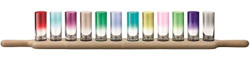 LSA International. vassoio per servire bibite. Vetro. Oak. Multicolore. Grand Vodka Set & Oak Paddle L77cm. Multicolore Colours