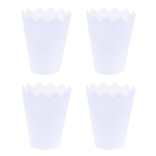 OUNONA 4 macetas de plástico con forma de corona de encaje para guardería, para decoración del hogar, tamaño L, color blanco