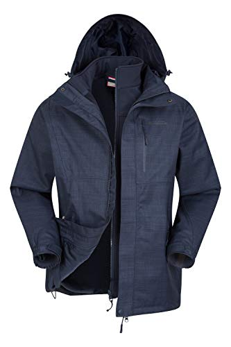 Mountain Warehouse Bracken Wasserfeste 3 in 1 Herren Winterjacke, Warmer Fleecejacke, Regenjacke, Herrenjacke, Funktionsjacke, Allwetterjacke, Doppeljacke, Übergangsjacke Marineblau S