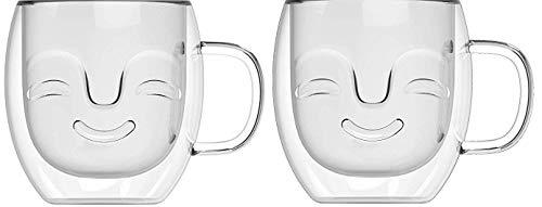Yeppers 2X 390ml No.1 doppelwandige Tassen mit Gesicht geschwungen/Thermotassen/Glastassen/Teetassen/Kaffeetassen mit Schwebeeffekt by Feelino
