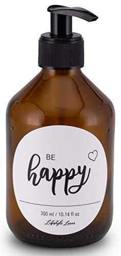 Lifestyle Lover Seifenspender 300ml aus Braunglas, Bernsteinfarben für Seife Spüli Shampoo Lotionen Braun Glas, Be Happy