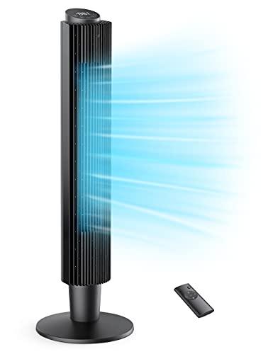 Turmventilator 35dB Leise Ventilator 90° Oszillation 106CM Standventilator 40W Säulenventilator mit Fernsteuerung 12 Std. Timer 5 Geschwindigkeiten 3 Windmodus Raumventilator Home Büro