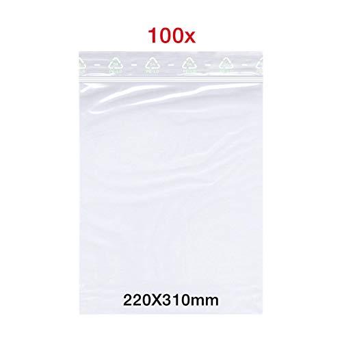 200x Druckverschlussbeutel LDPE Transparent 500 x 600 mm 90 my
