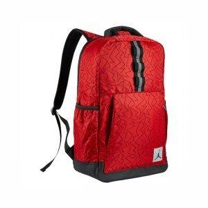 Nike Air Jordan Jumpman Quilted Reflective Backpack Laptop Sleeve, University Red, Black Zig Zag