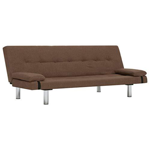 Nishore Sofá Moderno Cama Versátil con 2 Almohadas, 3 Posiciones Ajustables, Cuero Sintético Marrón 168 x 77 x (61,5/64 / 66) cm