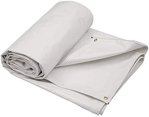 Waterdicht Heavy Duty dekzeil geteerd zeildoek, dikke opvouwbare anticorrosieve zonnebrandcrème poncho, wit voor autotuin dak camouflagetent (maat: 8 * 6m)
