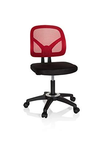 hjh OFFICE 736411 Kinder- und Jugenddrehstuhl Kid YU 100 Netzstoff Schwarz/Rot Kinder Schreibtischstuhl höhenverstellbar