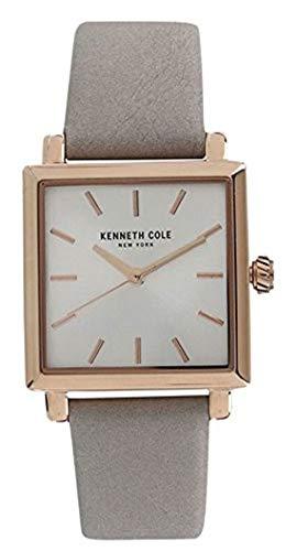 Kenneth Cole New York KC15175003 - Reloj de Cuarzo para Mujer, Acero Inoxidable y Cuero, Color Gris y Piedra