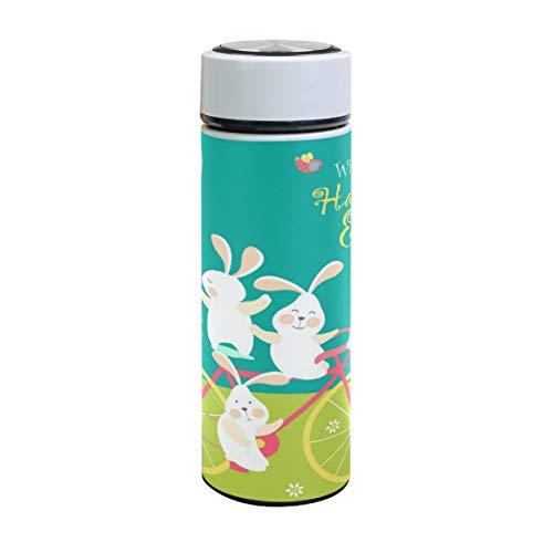 XiangHeFu roestvrijstalen karikatuur-paardrijkonijnen-ballon-paasei-bonte thermosfles houdt koude of warme thee-reisbeker water-fles-lek-bewijs