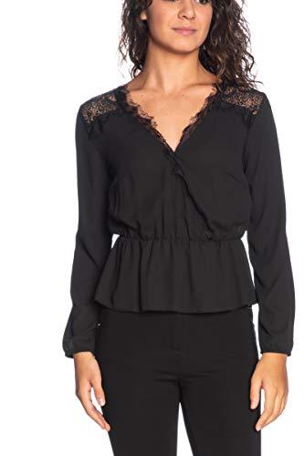 Langarm-Shirt für Damen, Schwarz Schwarz Schwarz Medium