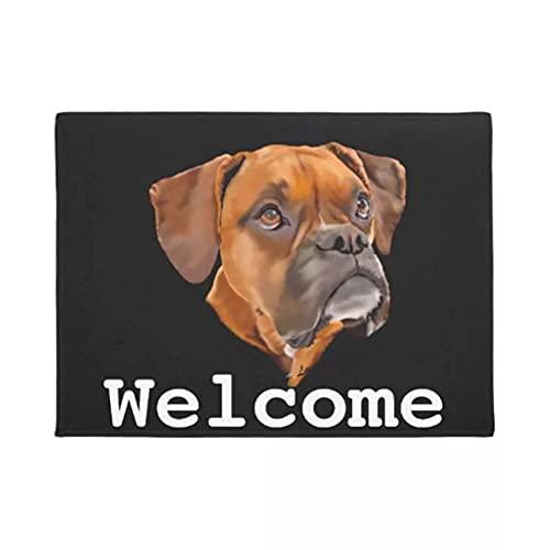 Alfombra de baño Felpudo alfombra Alfombrilla para perro Boxer, decoración del hogar, entrada, alfombrilla antideslizante para puerta, piso lavable de goma Regalos de decoración navideña-50x80cm