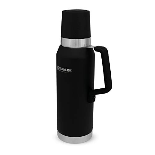 Stanley The Unbreakable Master Series Vacuum Thermal Bottle 1.3L Foundry Black 18/8 Stainless Steel Quadvac Insulation Leakproof Packable Vacuum Insulated Lid Dishwasher Safe Naturally Bpa-Free