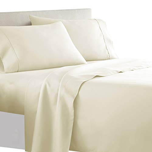 Royal Tradition Solid 300 Thread Count, 100 Percent Cotton 4PC California King Bed Sheets Set with Deep Pockets, Ivory