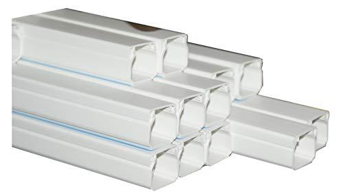 Kabelkanal selbstklebend Kunststoffkanal verschiedene Größen Verdrahtungskanal Leitungskanal reinweiß mit Deckel, PVC Kanal (10m 15x10mm)