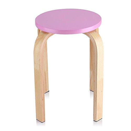 Anti-Rutsch Holz Sitzhocker, Stapelhocker Wohnzimmer Hocker Küchenhocker, Farbe Wohnmöbel Kinderzimmer Dekor, 15.75 x 17.9 x 11.8 Zoll, Rosa