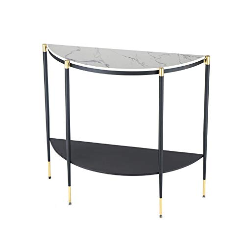 OuPai Table Console Table,Marble Sofa Table Semicircle Decorative Table Livingroom Iron Art Side Table 30 × 11 × 32 Inch for Living Room Bedroom (Color : A)