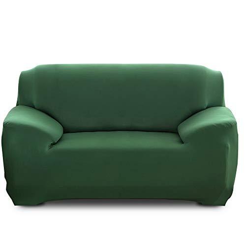 Ryoizen Fundas para Sofa Elástica 1/2/3/4 Plazas Cubre Sofá Universal Cubierta de Sofá de Color Sólido Protector de Sofá o Sillón Lavable Duradera(Verde Oscuro,145-185cm)