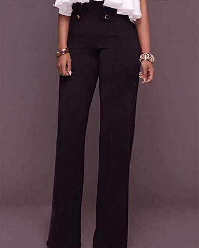 AOZLOVEC Mujer Streetwear Pantalones de pierna ancha de cintura alta Pantalones largos con cordón XL negro