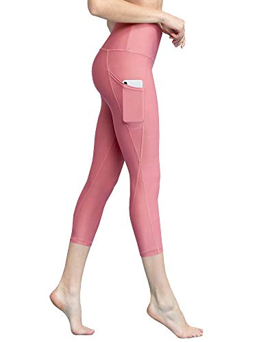 Lock and Love LL WB3001 Women's Tummy Compression Slimming Capri Leggings with Pocket M Pink_Moscato