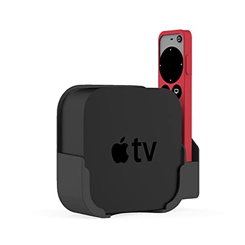 Soporte de pared para Apple TV 4K, compatible con Apple TV 6ª generación y TV HD Set-Top Box, soporte portátil de almacenamiento de control remoto (negro)