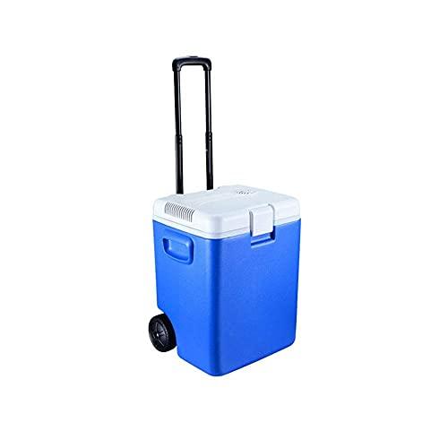 BAOZUPO Refrigerador Mini refrigerador Enfriador y calentador eléctrico con ruedas, refrigerador portátil para automóvil de 30 L con enchufe de alimentación de CA + CC para fiestas de camiones, viajes