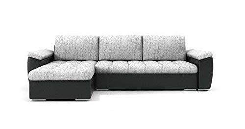 PM Ecksofa Schlaffunktion Bettfunktion Couch L-Form Polstergarnitur Wohnlandschaft Polstersofa mit Ottomane Couchgranitur - NICO-Links (Silber + schwarzes...