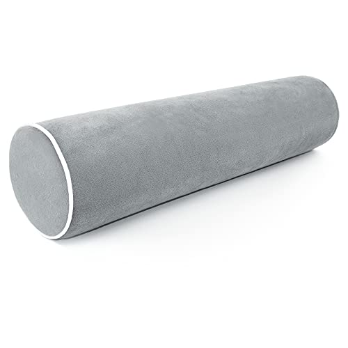 Cylinder Pillows for Neck and Shoulder Pain Relief, for Cervical, Spine, Lumbar Traction. Ergonomics and Neck Physical Therapy, Ideal for Spine and Neck Support. 4x17 inches(Gray)