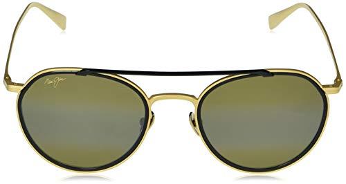 Maui Jim Bowline - Gafas de sol de ojo de gato, dorado (Oro mate con borde negro brillante/bronce Hcl polarizado), Medium